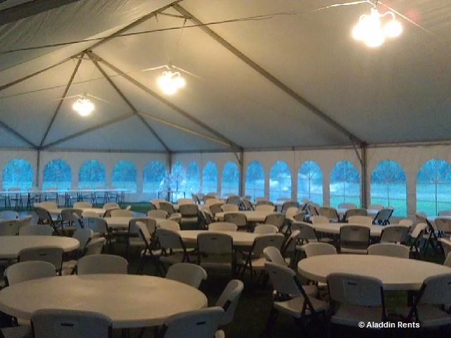 tent with lighting