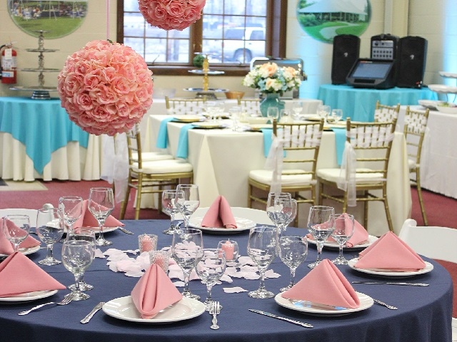 table with navy and pink