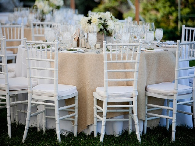 outdoor wedding white chiavari chairs