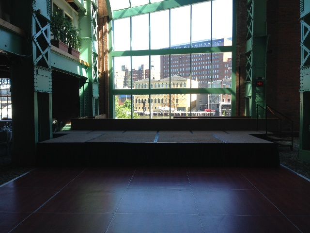 stange and dance floor at windows